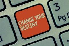 Cambiamento del testo di scrittura di parola il vostro destino Concetto di affari per la riscrittura dell'inizio migliorante di t fotografie stock libere da diritti