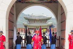 Cambiamento delle guardie al palazzo coreano, palazzo di Gyeongbokgung, Seoul, Corea del Sud Immagini Stock Libere da Diritti