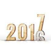 cambiamento di anno di numero di legno 2016 a 2017 anni nella stanza bianca dello studio, Immagine Stock