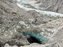 Cambiamento di clima, ghiaccio del ghiacciaio di fusione e roccia pura Fotografie Stock
