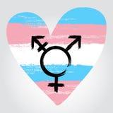 Cambie de sexo la bandera del orgullo en una forma de corazón con symbo del transexual ilustración del vector