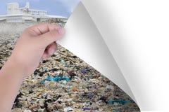 Cambie el mundo con nuestras manos De los agentes contaminadores a los paisajes naturales o a los árboles Inspiración para la pro imagenes de archivo