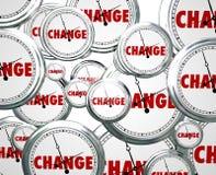Cambie el tiempo de relojes por los marzos futuros de la evolución de la innovación encendido Imagen de archivo