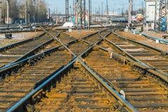 Cambie en el ferrocarril del pasajero de Kharkov, Ucrania Fotografía de archivo