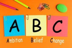 Cambio ABC de la creencia de la ambición imagen de archivo libre de regalías