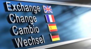 Cambio, cambio, intercambio, Wechsel Imagen de archivo libre de regalías