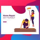 Cambio de imagen y renovación caseros: pares felices jovenes que pintan sus interiores de la nueva casa usando los rodillos de pi ilustración del vector
