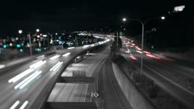 Cambio de la inclinación de la noche del lapso de tiempo del tráfico de Seattle I-5