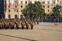 Cambio del guardia en el La Moneda Fotografía de archivo libre de regalías