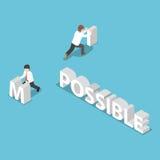 Cambio isométrico del hombre de negocios la palabra imposible a posible ilustración del vector