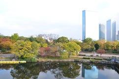 Cambio Japón del color del otoño en el castillo de Osaka Imagenes de archivo