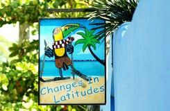 Cambios en latitudes, un recordatorio a los turistas del warmtn en Belice fotografía de archivo libre de regalías