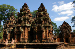 Cambodia. Banteay Srei Temple, in Cambodia, with completed reservation work on the towers Stock Photo