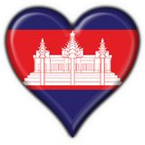 Cambodia american button heart flag Royalty Free Stock Images