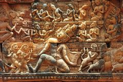 Cambodia Angkor Banteay Srey carved pediment Stock Photos