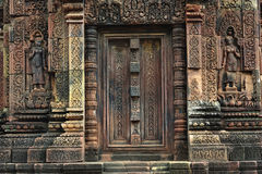 Cambodia Angkor Banteay Srey temple a false door Royalty Free Stock Photography