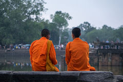 Cambodia Angkor temple monks Royalty Free Stock Photos