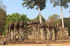 cambodia Angkor Thom City Terrazzo degli elefanti Provincia di Siem Reap Città di Siem Reap fotografia stock libera da diritti