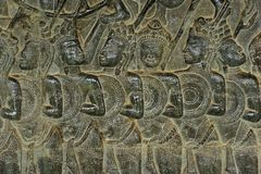 Cambodia; Angkor Wat; Bas Reliefs Stock Photography