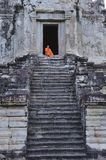 Cambodia Angkor Wat with a monk Royalty Free Stock Image
