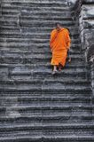 Cambodia Angkor wat with a monk Stock Images
