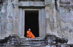 Cambodia Angkor Wat with a monk royalty free stock images
