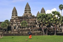 Cambodia  Angkor wat towers view from the library Royalty Free Stock Photos