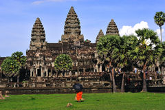 Cambodia Angkor wat towers view from the library stock photography