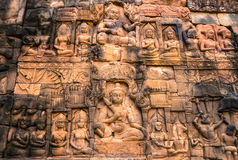 Cambodia Art. The art on temple wall,Siem Reap province,Cambodia Royalty Free Stock Image