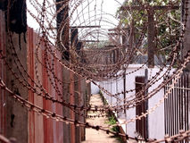 Cambodia Barbed. Barbed wire in old Cambodian prison camp royalty free stock photo