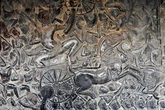 Cambodia - Bas relief from Angkor Wat temple Royalty Free Stock Photo
