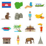 Cambodia Culture Flat Icons Set. Cambodian culture for tourits flat icons collection with boat temple and exotic animals abstract  vector illustration Stock Photography