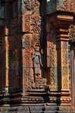 Cambodia - Detail of Benteay Srei, (the pink templ Royalty Free Stock Photo