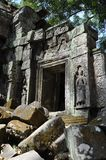 Cambodia - Detail of Ta Prohm temple. Angkor Wat, Siem Reap area (Cambodia) - Detail of Ta Prohm temple, also called Tomb Raider temple, where silk-cotton trees Stock Photo