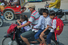Cambodia Five on a bike Royalty Free Stock Image