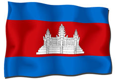 Cambodia Flag. Flag of Cambodia waving in the wind - clipping path included Royalty Free Illustration
