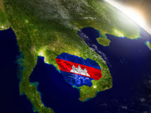 Cambodia with flag in rising sun Stock Images