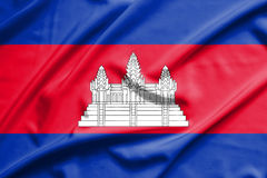 Cambodia flag. On soft and smooth silk texture Royalty Free Stock Photos