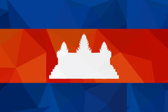 Cambodia flag - triangular polygonal pattern Royalty Free Stock Image