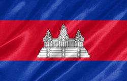 Cambodia Flag. With waving on satin texture stock illustration