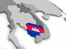 Cambodia on globe with flag Stock Photos