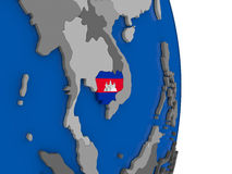 Cambodia on globe with flag Stock Photography