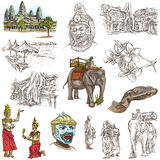 Cambodia - An hand drawn illustrations. Frehand pack. Stock Image