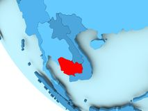 Cambodia on blue political globe. Cambodia highlighted in red on blue political globe. 3D illustration Stock Image