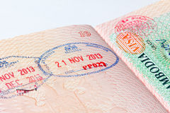 Cambodia immigration stamp in passport Stock Photo