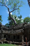 Cambodia  la prong  temple. Cambodia bluebird day la prong temple  person looks on Stock Images