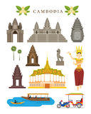 Cambodia Landmarks and Culture Object Set Stock Images