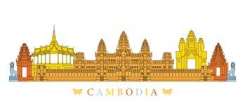 Cambodia Landmarks Skyline, Line and Colourful Royalty Free Stock Photos