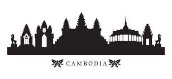 Cambodia Landmarks Skyline in Silhouette Stock Images