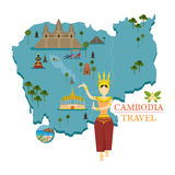 Cambodia Map and Landmarks with Apsara Dancer Stock Image